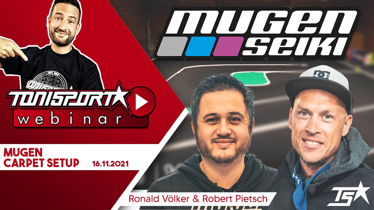 Ankündigung ToniSport Webinar Mugen Carpet Setup mit Ronald Völker & Robert Pietsch